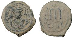 Ancient Coins - Tiberius II 578-582 AD AE Follis Constantinople mint VF+