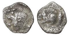 Ancient Coins - Mysia Kyzikos 450-400 BC AR Hemiobol boar \ lion