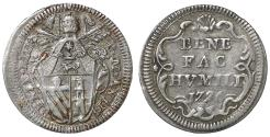 World Coins - Papal States Pope Benedict XIII 1724-1730 Grosso 1726 Rare aUNC