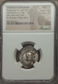 Ancient Coins - NGC MS 4/5 - 4/5 PARTHIAN Vologases VI 207-222. AR drachm