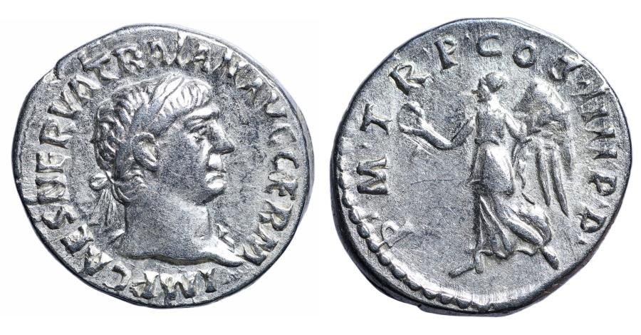 Ancient Coins - Trajan Silver Denarius 100 AD XF+