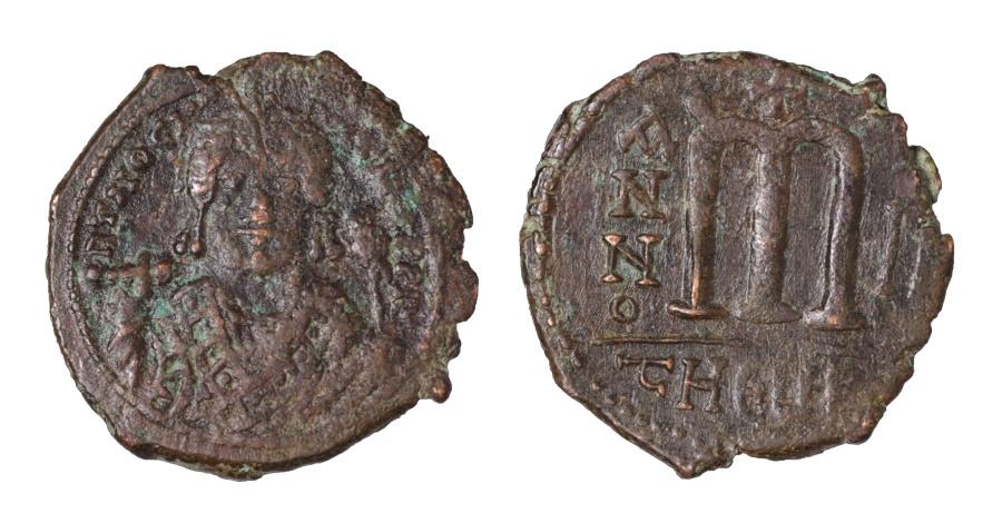 Ancient Coins - Maurice Tiberius. AE Follis. Theupolis Mint 583/584 AD VF+, brown patina. Good struck.