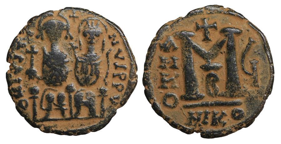 Ancient Coins - Justin II with Sophia Æ Follis Nicomedia AD 565-578 VF+ \ Byzantine Coins