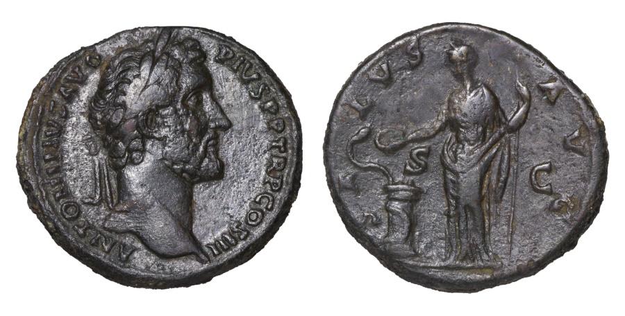 Ancient Coins - ANTONINUS PIUS. 138-161 AD. SESTERTIUS SALUS; A very fine portrait with complete legend