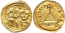 Ancient Coins - Heraclius & Heraclius Constantine Gold solidus. UNC AD 613-641.