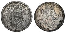 World Coins - Papal States Clemens XIII 1/5 Scudo 1759 Rare. XF+