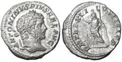 Ancient Coins - Caracalla. 198-217 AD. AR Denarius. Serapis XF