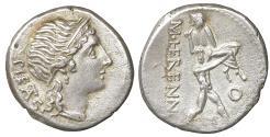 Ancient Coins - M. HERENNIUS. Denarius (108-107 BC). Rome XF+