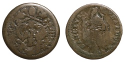 World Coins - Pope Innocent XIII (1721-1724). GUBBIO. Quattrino RARE VF