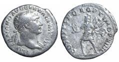 Ancient Coins - Trajan. 98 -117 CE. AR Denarius. \ Mars VF+ Roman coin