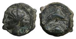 Ancient Coins - Sicily Syracuse 400 BC AE Hemilitron  XF+ \ Greek Coins