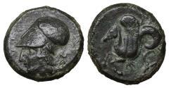 Ancient Coins - Sicily Syracuse 400 BC AE Litra XF+ \ Greek Coins