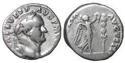 Ancient Coins - Vespasian Denarius. 72-73 AD VF\XF Victory \ Roman Coins