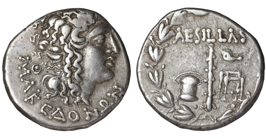 Ancient Coins - MACEDONIA under Roman Rule. Aesillas quaestor 95-70 BC. AR Tetradrachm Complete legend. Scarce. aEF