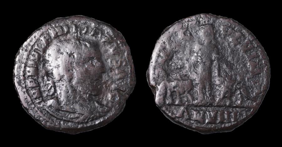 Ancient Coins - Philip I AE 30 of Viminacium in Moesia Superior. Year 8 = 247 AD VF. Dark brown patina.
