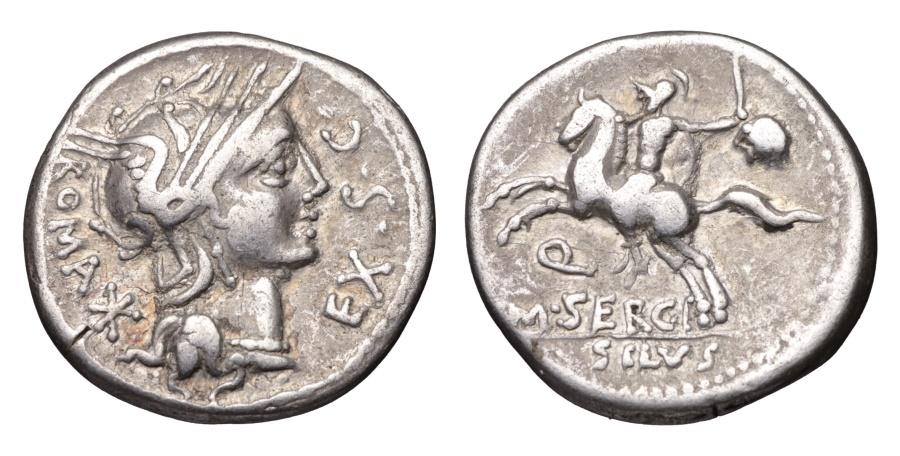 Ancient Coins - M. Sergius Silus AR Denarius 116-115 BC Extremely fine