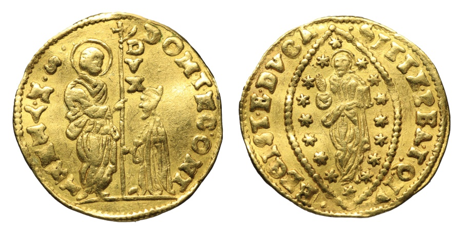 World Coins - VENICE. DOMENICO CONTARINI. 1659-1674 AD. GOLD DUCAT ZECCHINO EXTREMELY FINE