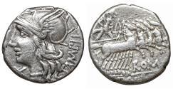 Ancient Coins - M. Baebius Q.f. Tampilus Denarius Rome 137 BC XF \ Roman Republic silver