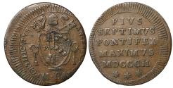 World Coins - Papal States Rome Pius VII 1800-1823 1/2 baiocco 1802 aXF