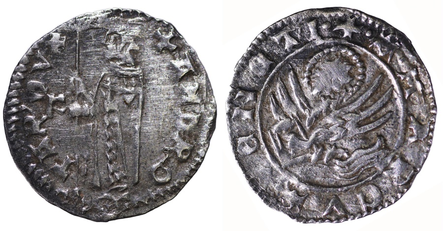 World Coins - VENICE. Andrea Contarini. 1368-1382 AD. SOLDINO II° TIPO. Winged lion of St. Mark