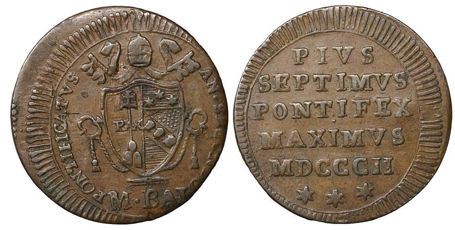 World Coins - Papal States Rome Pius VII 1800-1823 1/2 baiocco 1802 aXF