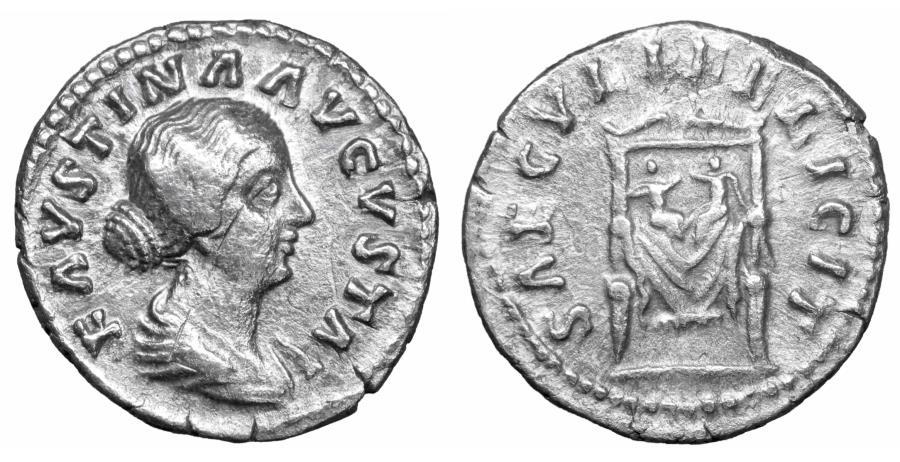 Ancient Coins - Faustina Junior AD 147-175 AR denarius Rome AD 147-175 XF