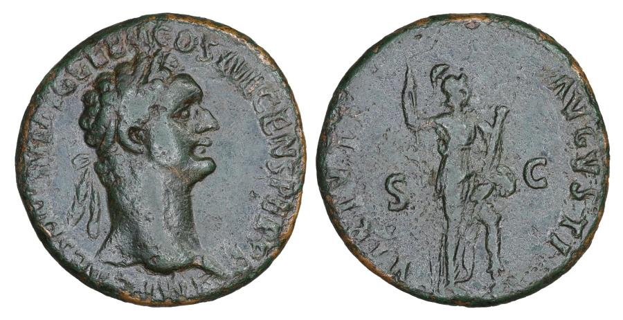 Ancient Coins - Domitian 81-96 As Rome AD 95-96 aXF Virtus