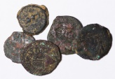 Ancient Coins - Lot of 5 Jewish Prutah: 1 Herod I the Great, 2 Herod Agrippa, 1 Antonius Felix, 1 Valerius Gratus