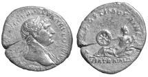 Ancient Coins - Trajan. AR Denarius. Struck 113 A.D \ Via Traiana Roman coin