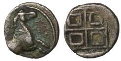 Ancient Coins - Thrace Trieros AR Hemiobol 450-400 BC  XF Rare