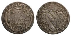 World Coins - Papal States Clement XII. 1730-1740 d.C. Giulio. R2 XF+
