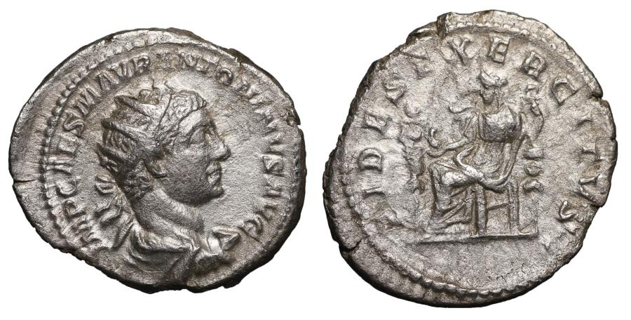 Ancient Coins - Elagabalus Silver Antoninianus Rome AD 218-222 FIDES EXERCITVS VF