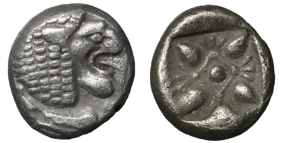 Ancient Coins - Ionia Miletos 520-490 BC Diobol XF \ Greek Coin