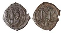 Ancient Coins - Justin II AD 565-572. AE.Follis, struck AD 568/569. Mint of Nicomedia