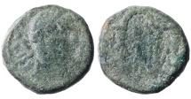 Ancient Coins - JUDAEA, Aelia Capitolina (Jerusalem). Antoninus Pius 138-161 A.D. AE17  Rare. F