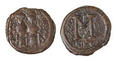 Ancient Coins - Justin II Follis 569/570 Mint of Nicomedia Very fine, brown patina. Good struck