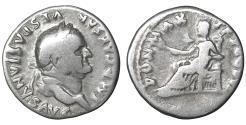 Ancient Coins - Vespasian Denarius 75 AD Pax VF+ \ Roman Coins
