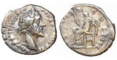 Ancient Coins - Antoninus Pius silver denarius Rome mint issued 156-7 VF\XF Ceres