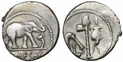 Ancient Coins - Julius Caesar. 49-48 BC. Silver Denarius. Rare. XF