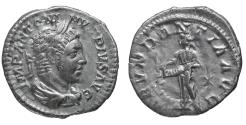 Ancient Coins - Elagabalus Denarius Rome AD 220-221 ABVNDANTIA VF\XF