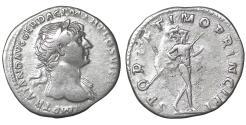 Ancient Coins - Trajan Denarius 112-114 AD XF Mars \ Roman Coin