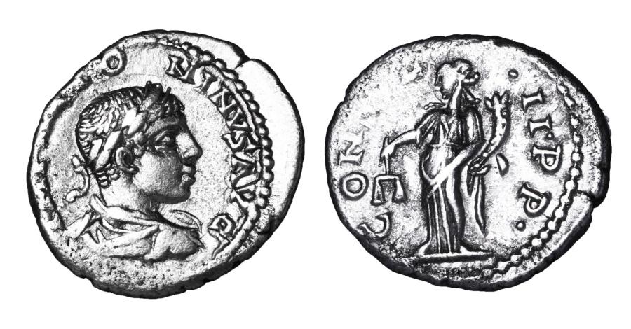 Ancient Coins - ELAGABALUS. 218-222 AD. DENARIUS CONSVL II P P; Equity stg. Left. RIC 168