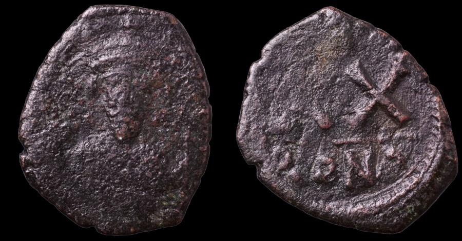 Ancient Coins - Phocas. 602-610 AD. AE23 Half Follis. Constantinople mint.