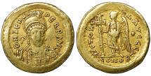 Ancient Coins - ZENO Second Reign. 476-491 AD Gold Solidus. XF \ Byzantine Empire