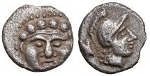 Ancient Coins - Pisidia. Selge circa 350-300 BC. Obol.  \ Gorgoneion \ aXF