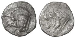 Ancient Coins - Kyzikos, Mysia. 450-400 BC. AR Obol VF\XF