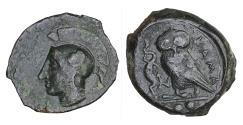 Ancient Coins - Kamarina 420-405 BC AE tetras XF+ Athena owl