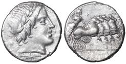Ancient Coins - Roman Republic Anonymous Denarius. 86 BC XF