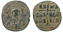 Ancient Coins - Romanus III AD 1028-1034 Follis Class B Constantinople Sandy patina VF+ \ Byzantine Coins