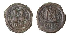 Ancient Coins -  Justin II AE Follis AD 565/566. Mint of Nicomedia VF \ Byzantine coin